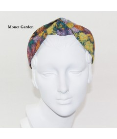 Monet Garden Cotton Print Center Turban Headband
