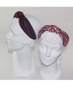 Dark Multi - Pale Blue/Red Cotton Stripe Center Turban Headband