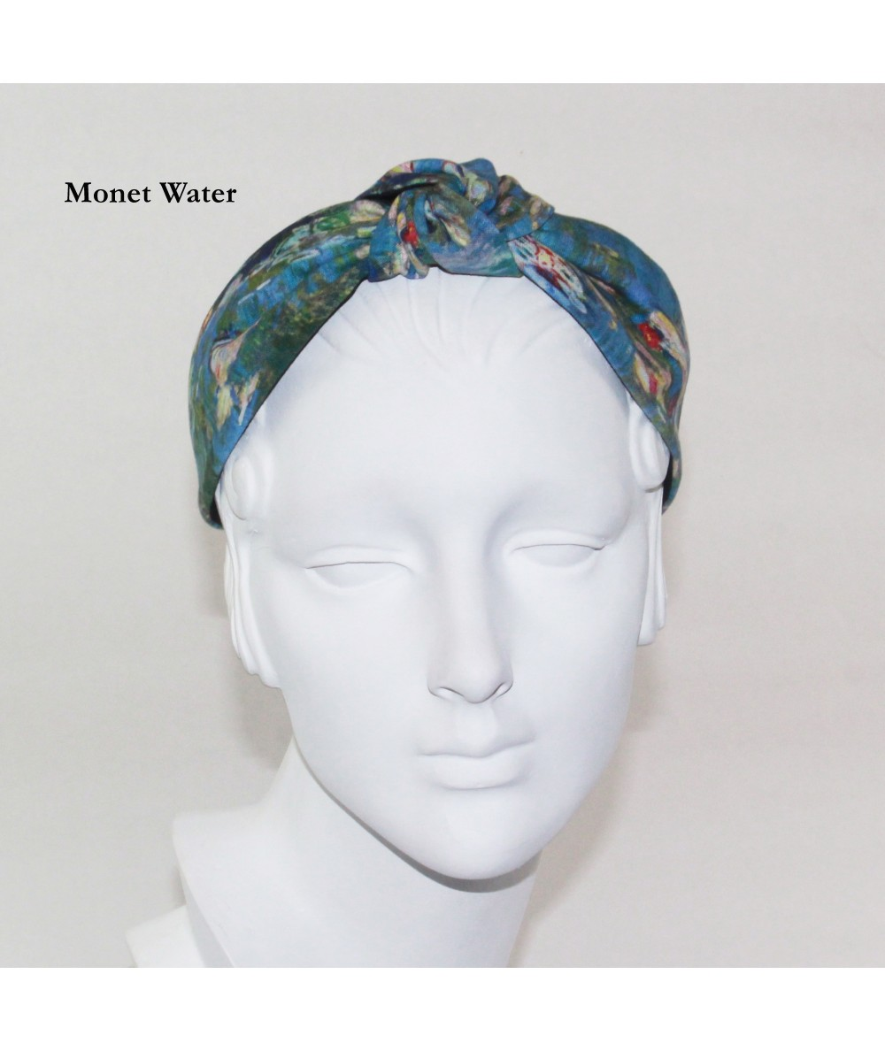 Monet Water Cotton Print Center Turban Headband