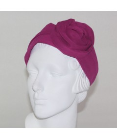 Fuchsia Silk Chiffon Extra Wide Headband with Side Handmade Rose