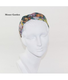 Monet Garden Cotton Stripe Side Turban Headband