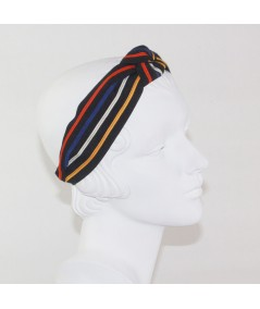 Multi Stripe Grosgrain Center Turban Headband