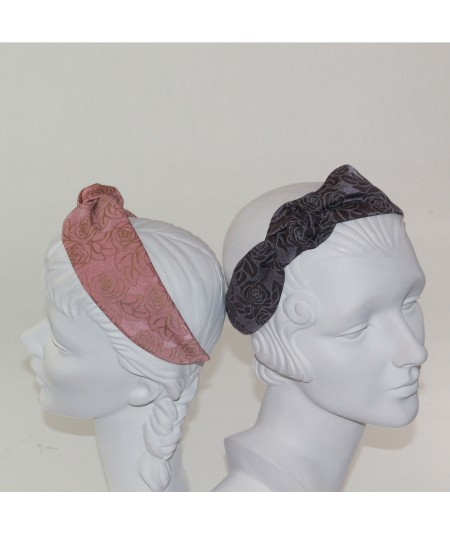 Blush - Grey Rose Print Side Turban Headband
