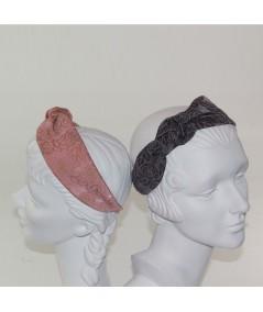 Blush - Grey Rose Print Side Turban Headband
