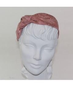 Blush Rose Print Side Turban Headband