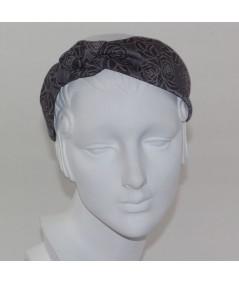 Grey Rose Print Side Turban Headband