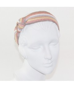 Pastel Stripe Straw and Grosgrain Side Turban Headband