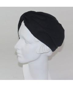 Reversible Black Linen and Black Bengaline Turban Hat