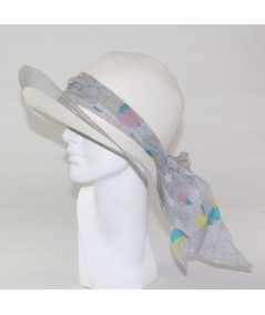 Toyo Straw with Silk Chiffon Band and Bow and Horse Hair Edge