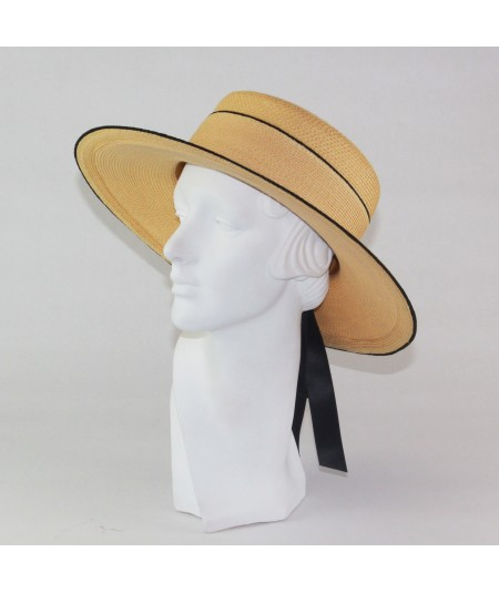 Pagalina Straw Sailor Brim Hat with Satin Bow