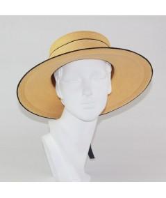 Pagalina Straw Sailor Brim Hat with Satin Bow