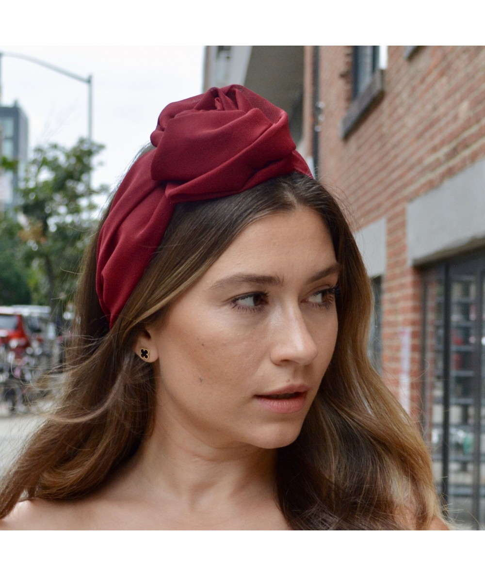 Rouge Silk Chiffon Extra Wide Headband with Side Handmade Rose