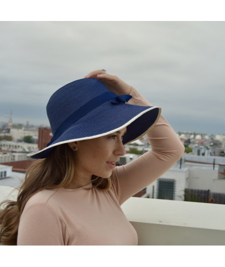 Navy with Ivory Straw Hat