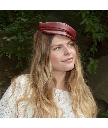Dark Red Soft Leather Cap Headpiece