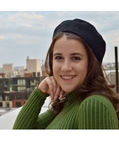 Fall Textured Beret with Top Detail