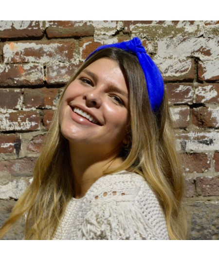 Electric Blue suede-center-turban-headband
