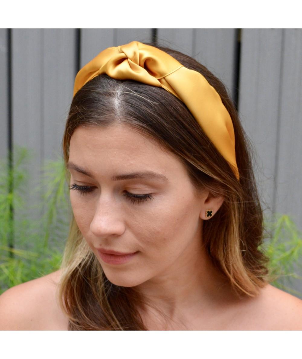 Yellow Gold Satin Turban Headband
