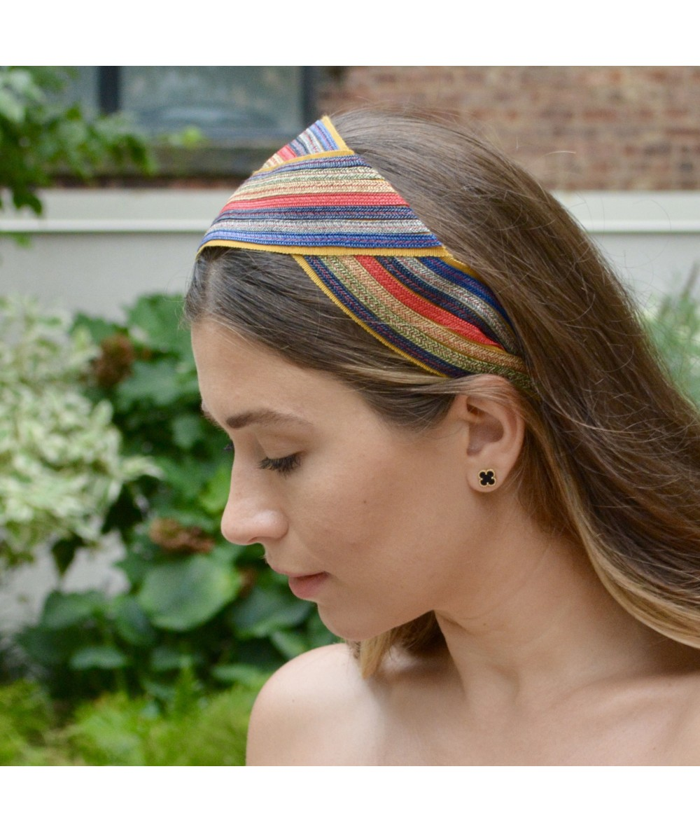 Multi Color Straw with Grosgrain Turban Headpiece