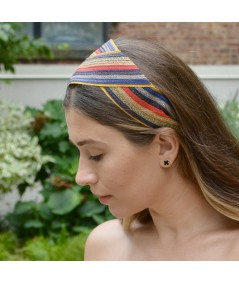 Multi Color Straw with Grosgrain Turban Headpiece