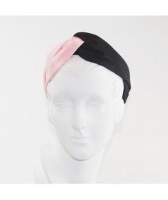 Black Pale Pink Bengaline Two-Toned Turbanista