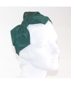 Hunter Bengaline Covered with Black Veiling Side Bow Headband
