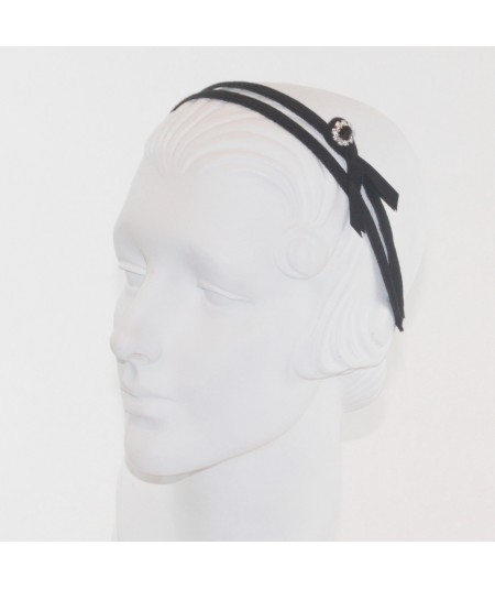 Black Grosgrain Double Headband with Side Rhinestone