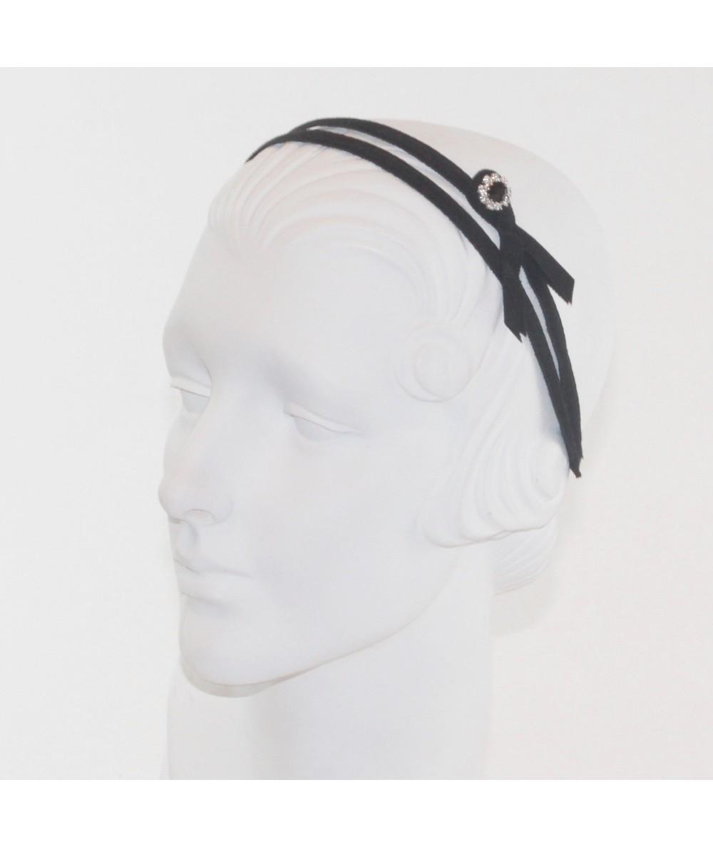 Black Grosgrain Double Headband with Side Rhinestone