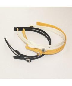 Black - Marigold Grosgrain Double Headband with Side Rhinestone