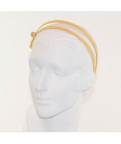 Marigold Grosgrain Double Headband with Side Rhinestone