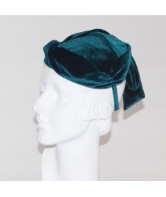 Teal velvet fascinator hat hi res