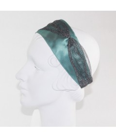 Petrol Satin with Metallic Tulle Side Divot and Color Stitch Headband