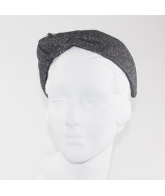 Dark Silver Metallic Tulle Side Turban Headband