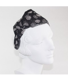 Tulle with Metallic Rings Print Extra Wide Headband with Side Knot Bow