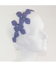 50s Inspired Straw Headpiece - Purple with Kelly Green