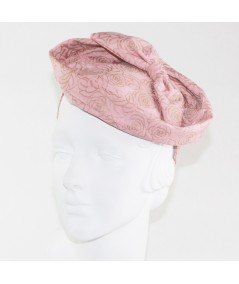 Blush Rose Print with Bow Fascinator