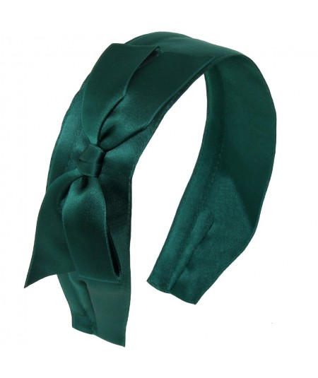 Satin Wide Headband with Bow - Billiard