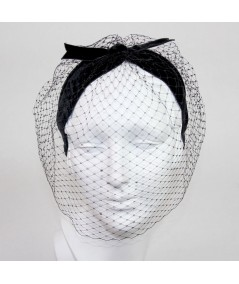 Face Veil with Rhinestones - Black with Crystal