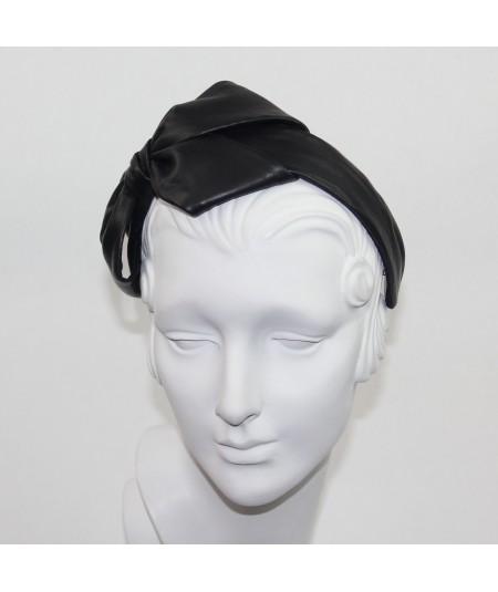 Black Leather Carolina Bow Headband