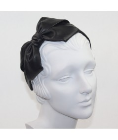 Black Leather Carolina Bow Headband