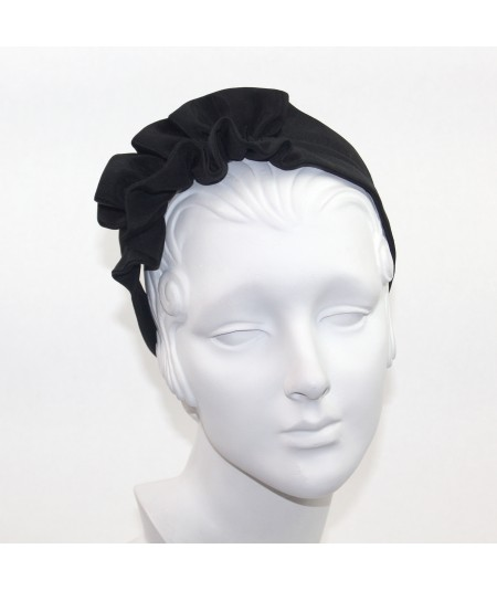 Black Bengaline Side Ruffle Headband