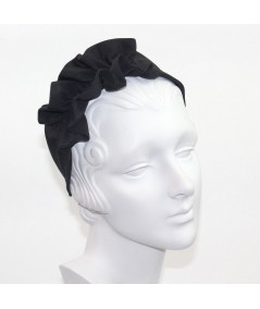 Black Bengaline Side Ruffle Headband