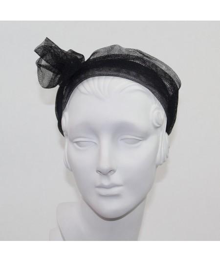 Black Tulle Metallic Flower Headband