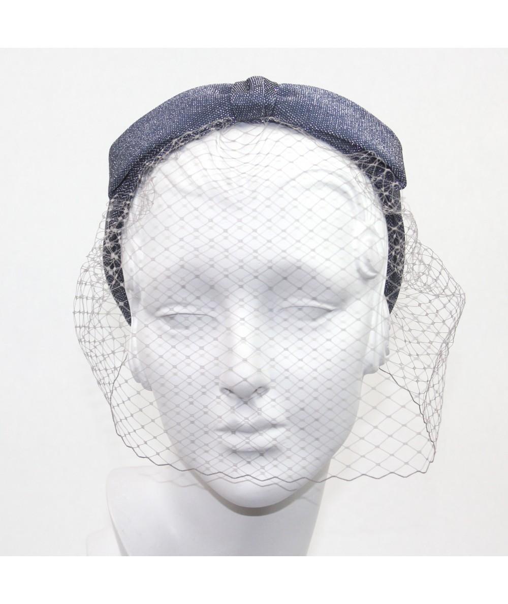 Metallic Bow Face Veil