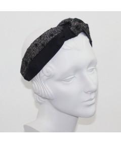 Black Bengaline and Winter Dots Boucle Center Turban Headband