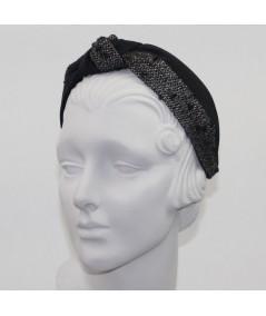 Black Bengaline and Winter Boucle Center Turban Headband