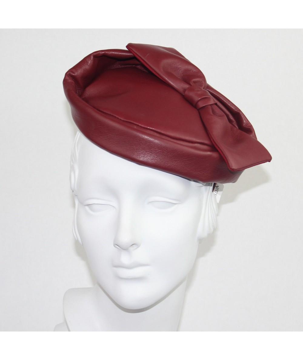 Dark Red Leather Betty Headpiece Fascinator