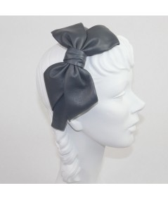 Grey Leather Carolina Bow Headband