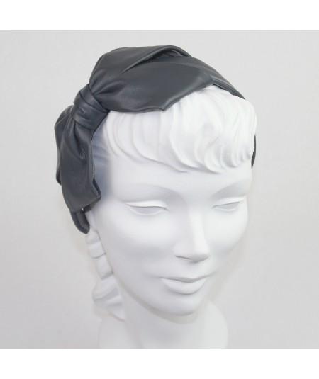 Grey Leather Carolina Bow Headband