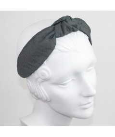 Charcoal Satin Covered Dark Green Veiling Blair Headband