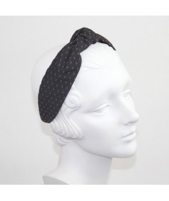 Black Satin Covered Brown Veiling Blair Headband